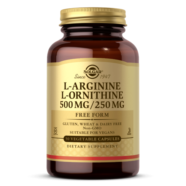 Suplemento solgar L-ARGININA:L-ORNITINA 500:250 MG capsulas vegetais
