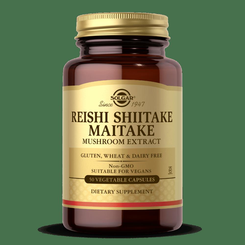 REISHI SHIITAKE MAITAKE extrato cogumelos suplemento solgar