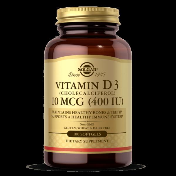 Vitamina D3 10 Mcg (400 IU) suplemento solgar