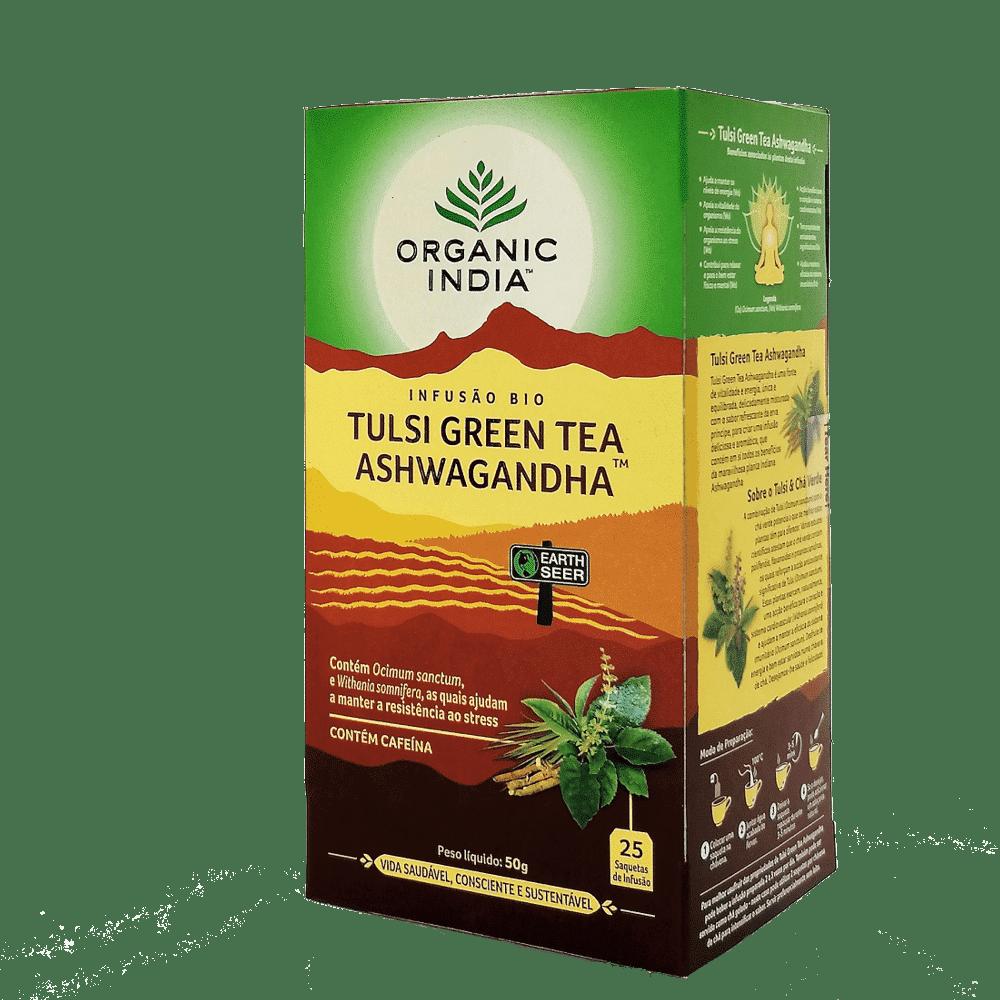 tulsi green tea ashwagandha 25saq organic india