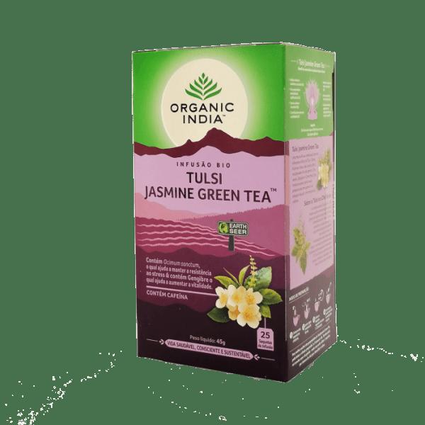 tulsi jasmin green tea 25saq organic india
