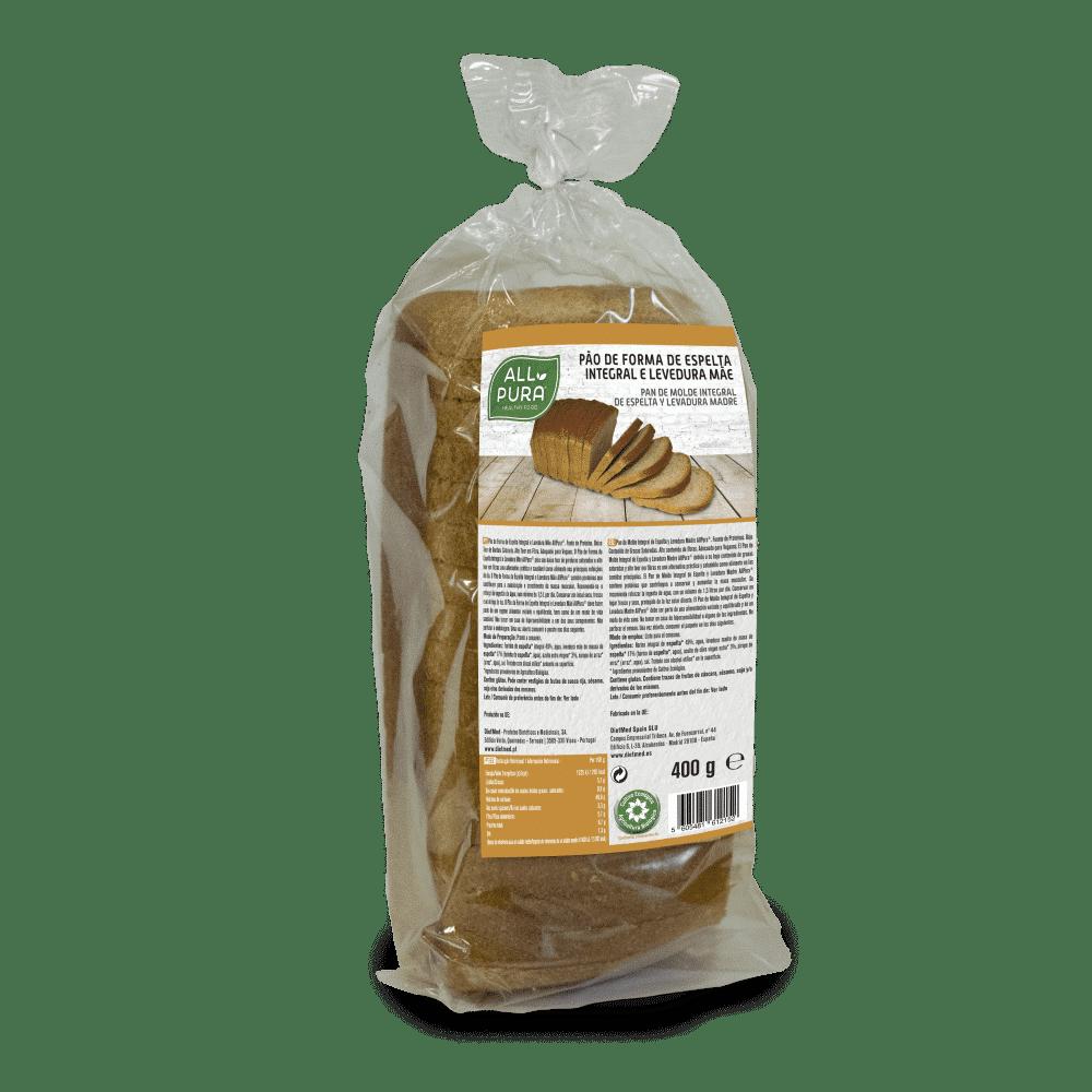 Pão de Forma de Espelta Integral e Levedura Mãe 400g allpura