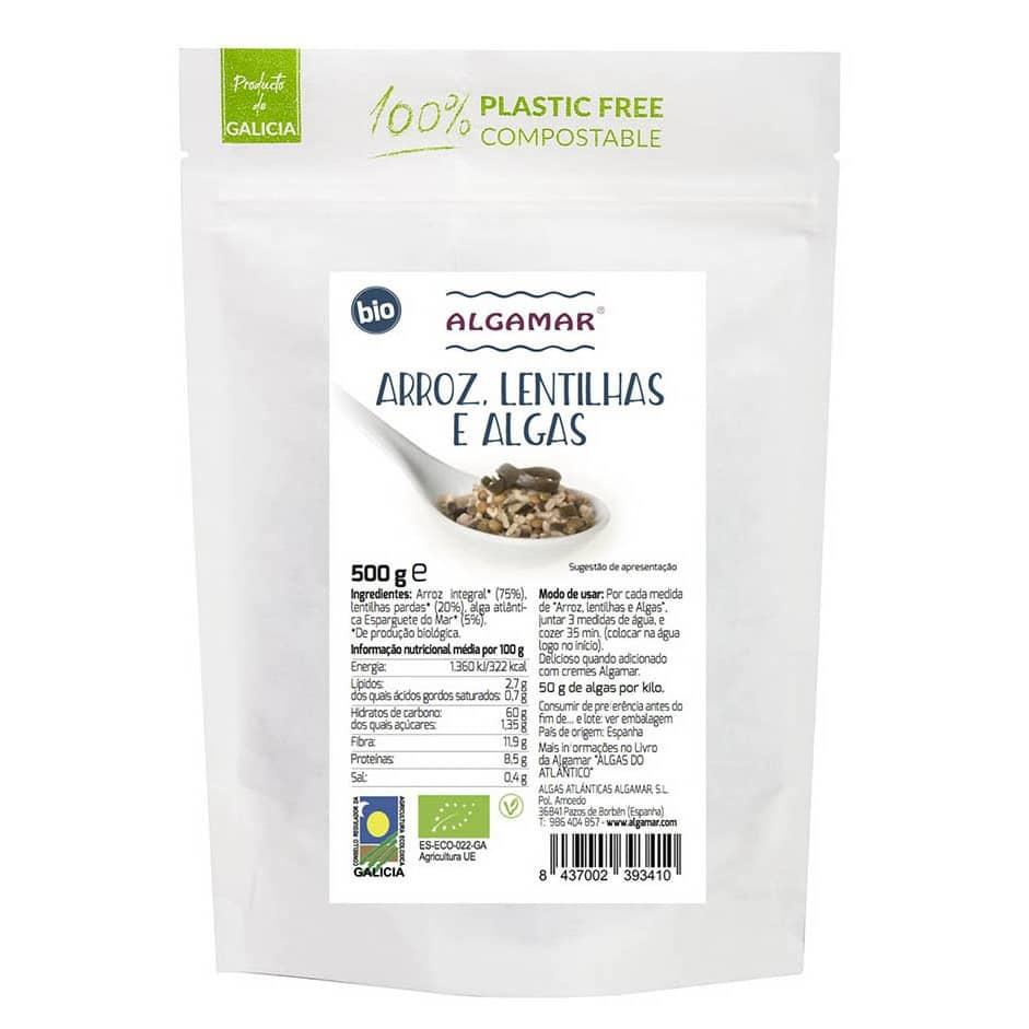 arroz lentilhas e algas bio 500g algamar