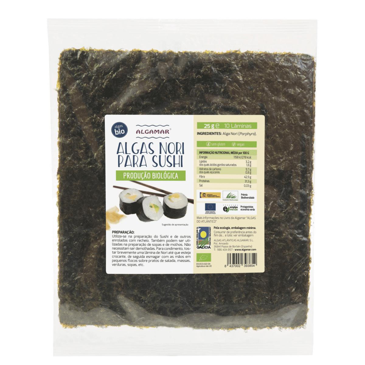 alga nori para sushi algamar